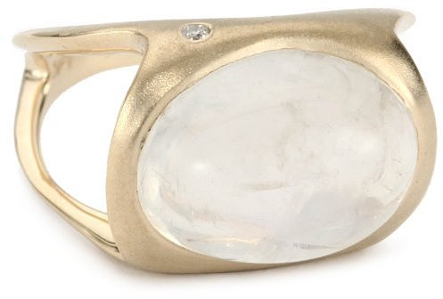 Shaesby 14k Yellow Gold Cabochon Ring with Diamond