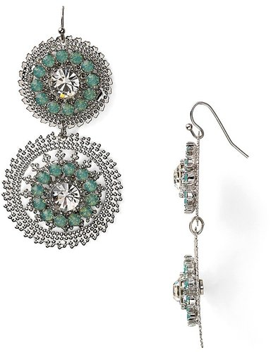 RJ Graziano Silver And Mint Green Double Drop Earrings