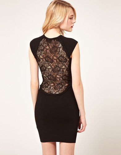 French Connection Body-Conscious Dress With Lace Back