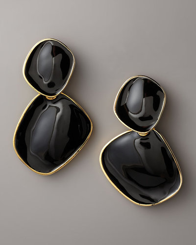 Kenneth Jay Lane Enamel Drop Earrings, Clip