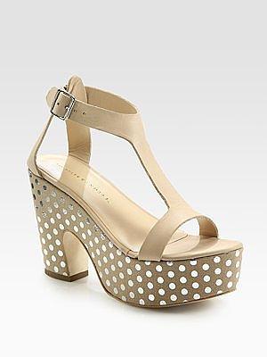 Chloe Polka-Dotted Leather T-Strap Platform Sandals