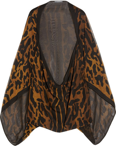 Alexander McQueen Ocelot-print silk-chiffon cape