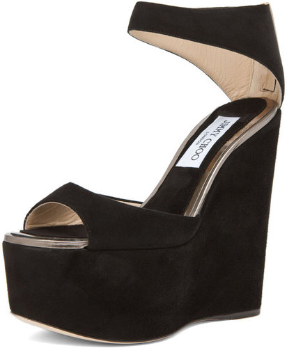 Jimmy Choo Topaz Wedge Sandal in Black
