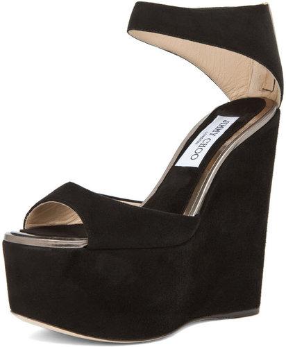 Jimmy Choo Topaz Wedge Sandal in Black
