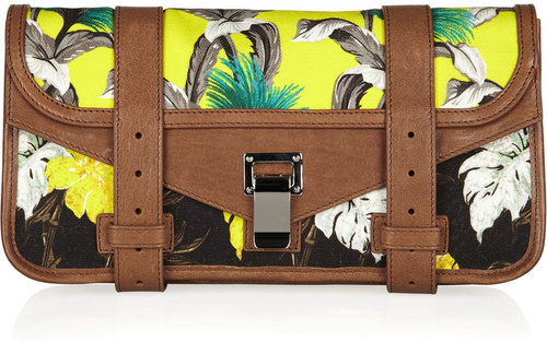 Proenza Schouler PS1 printed canvas and leather clutch