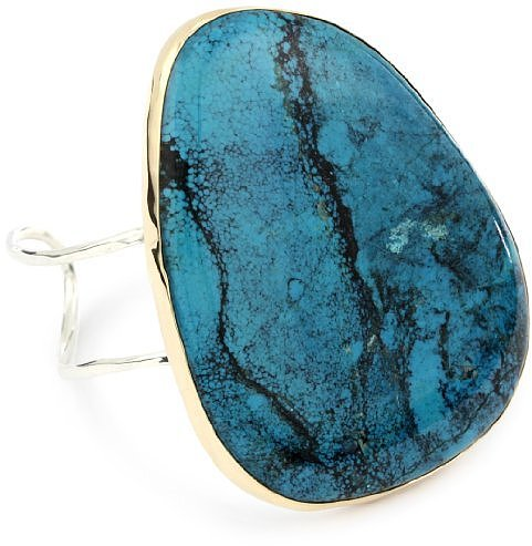 Melissa Joy Manning &quot;Neptune&quot; 14k Gold and Silver Turquoise Cuff Bracelet
