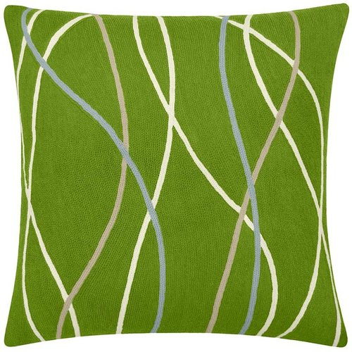 Judy Ross Textiles - Streamers 18x18 ChainStitch Pillow Lime