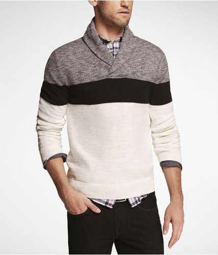 Color Block Shawl Collar Sweater