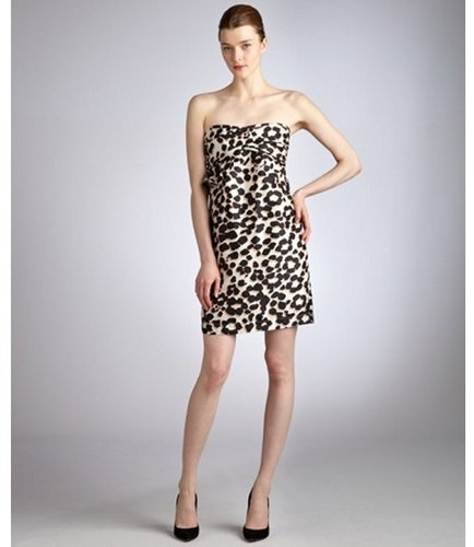 See By Chloe taupe and black leopard silk strapless ruffle dress
