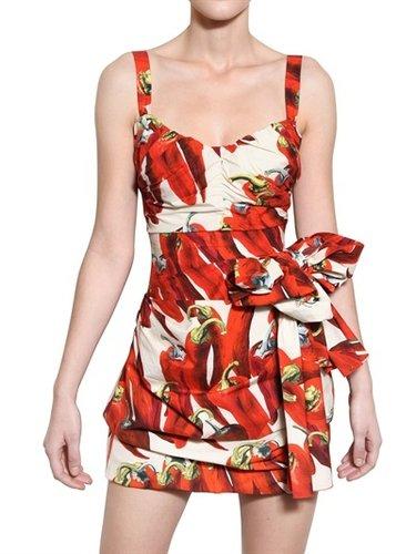 Dolce & Gabbana - Hot Pepper Print Cotton Poplin Dress