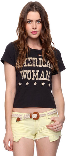 Forever 21 Destroyed American Woman Top
