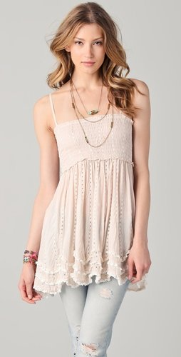 Free People Embroidered Waves Hem Slip Top