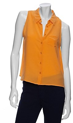 Equipment Sleeveless Crop Button Up Blouse