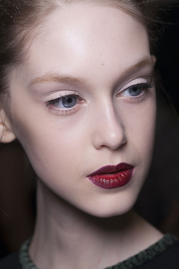 Powder-white eyes are the perfect complement for your wine-hued lips, according to Zac Posen.