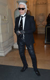 Karl Lagerfeld arrived at the CR Fashion Book cocktail launch party with his shades and trendy tie.