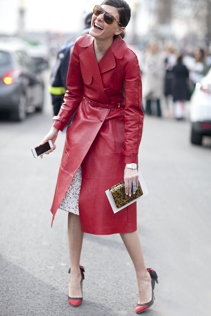 Giovanna Battaglia lit up the street-style scene in a brilliant red leather trench.