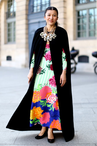 High-wattage florals on a floor-length silhouette meant this showgoer didn't short on the drama.