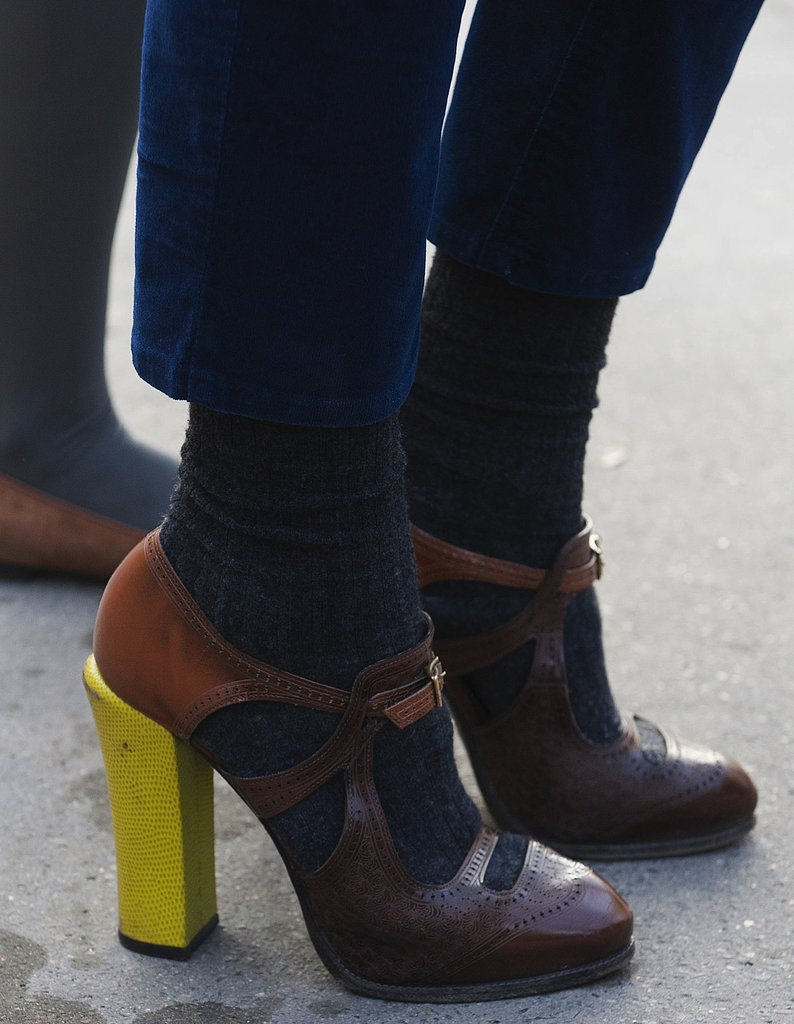 The bright yellow heels on Fendi's Chameleon pumps added a fresh twist to this classic ladylike silhouette.