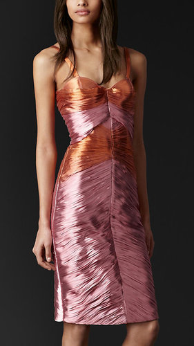 Pleated Metallic Bustier Dress
