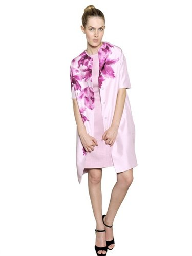 Giambattista Valli - Flower Print Silk Shantung Coat