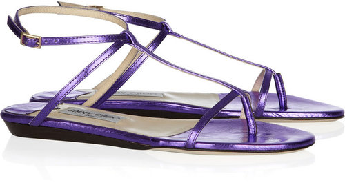 Jimmy Choo Fiona metallic crushed-leather sandals