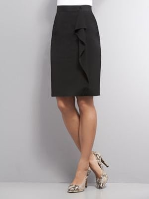 Ruffle Panel City Double Stretch Pencil Skirt