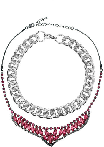 ASOS Pack of Two Chain and Stone Bib Necklaces