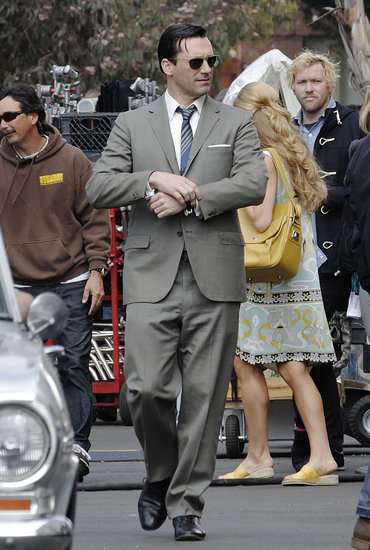 Jon Hamm filmed scenes for Mad Men in LA on Tuesday.