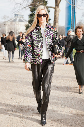 Joanna Hillman added flair to leather trousers with a printed jacket. Source: Le 21ème | Adam Katz Sinding