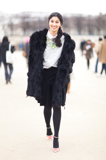 Caroline Issa perked up her Winter look with bright statement jewels and embroidered heels. Source: Le 21ème | Adam Katz Sinding