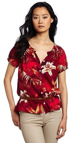 Lucky Brand Women's Amber Tropical Printed Top