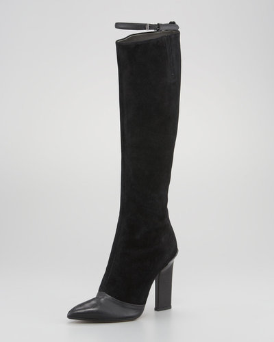 Reed Krakoff Leather-Suede Thin-Strap Knee Boot