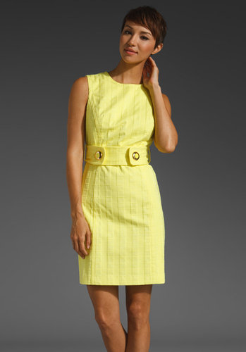 Milly Squares Cotton Jacquard Aris Belted Shift Dress
