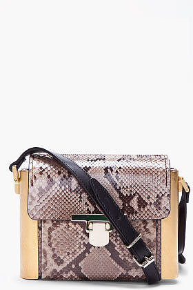 LANVIN Taupe Python Skin Camera Bag
