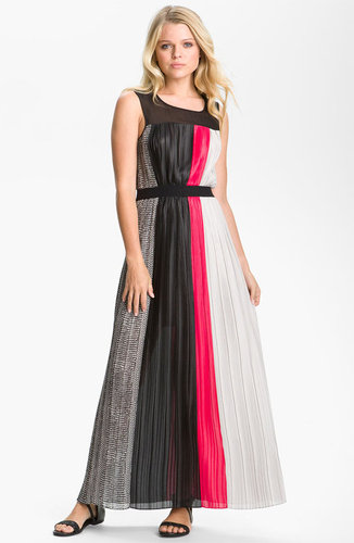 BCBGMAXAZRIA Contrast Panel Pleated Chiffon Maxi Dress