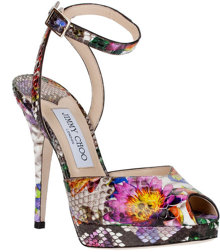 Jimmy Choo Liz floral python leather sandal