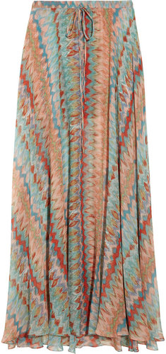 Haute Hippie Printed silk-chiffon maxi skirt