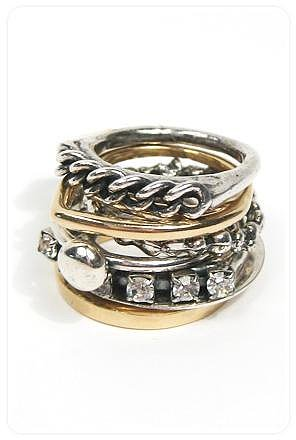 Iosselliani Curb Chain and Rhinestone Mixed Metal Stack Rings