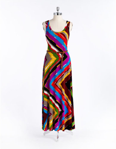 CALVIN KLEIN Belted Printed Maxi Dress