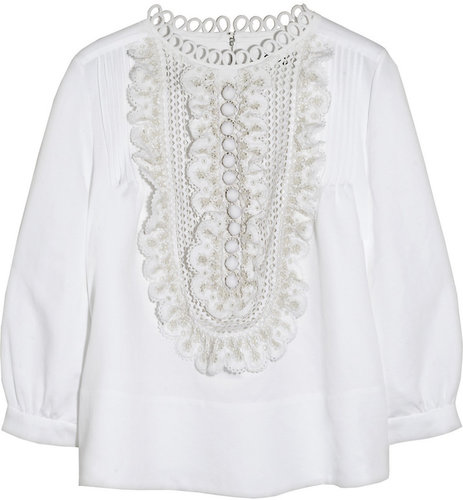 Chloé Broderie anglaise-ruffled linen-blend blouse