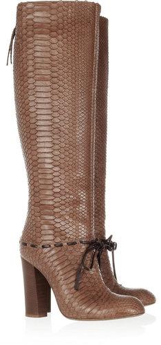 Chloé Python knee boots