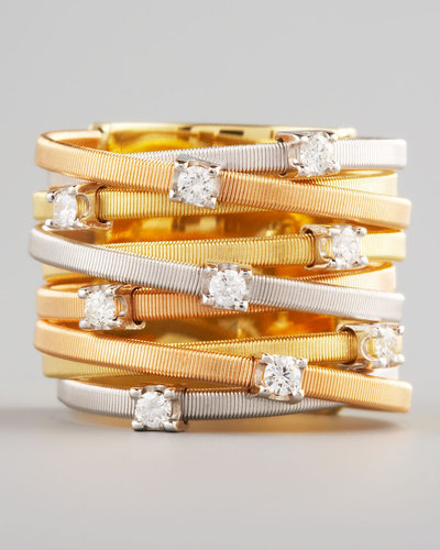 Marco Bicego Goa Diamond Mixed-Gold Ring, 9 Stack