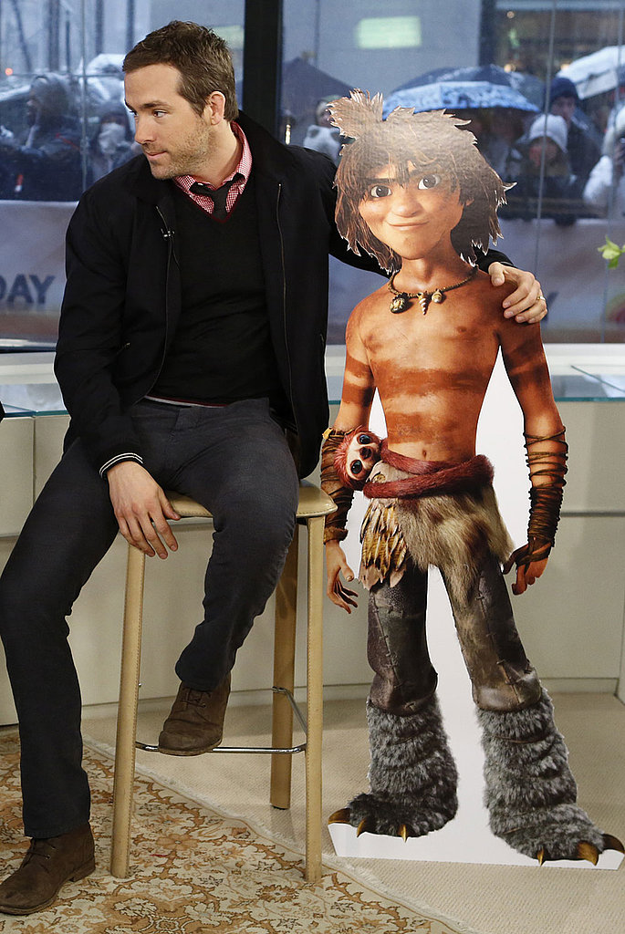 Ryan Reynolds posed with his character, Guy, while on the Today show.