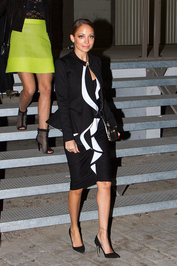 Nicole Richie single-handedly made a case for Spring's black and white trend in a chic Givenchy ensemble at the label's Paris Fashion Week show.