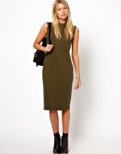 ASOS Midi Dress With Exaggerated Shoulder