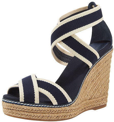 Tory Burch Two-Tone Elastic Espadrille Wedge