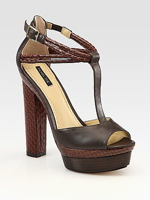 Parton Snake-Print Leather T-Strap Platform Sandals