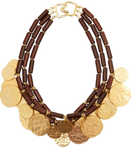 Kenneth Jay Lane Wood and metal disc necklace