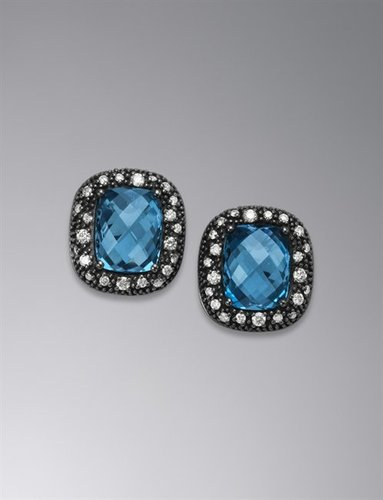 Moonlight Ice Earrings, Blue Topaz