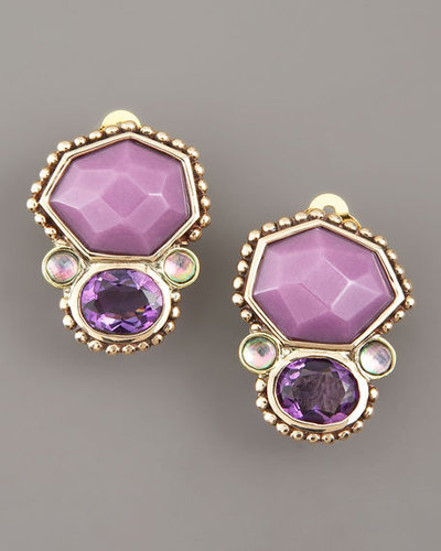 Stephen Dweck Amethyst Piggy Back Clip-On Earrings